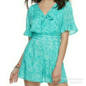 Candie's Ruffled Woven Romper